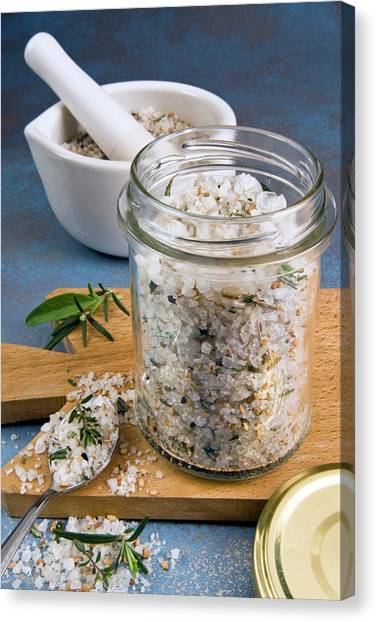 Condiments Canvas Print - Herb And Spiced Salt by Nico Tondini