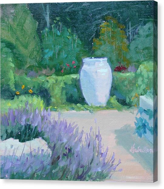 Herb Garden With Lavender Canvas Print by Judy Fischer Walton
