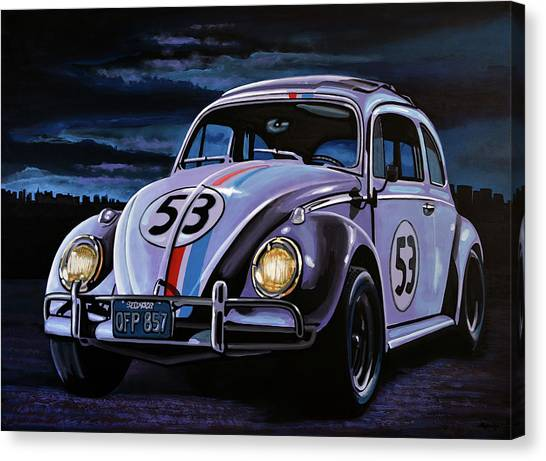 Nascar Canvas Print - Herbie The Love Bug Painting by Paul Meijering