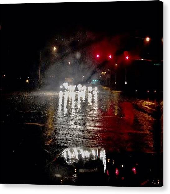 Stoplights Canvas Print - Here Comes The Rain Little Darling by Katelyn Gower