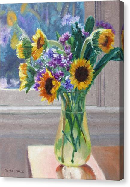 Here Comes The Sun- Sunflowers By The Window Canvas Print