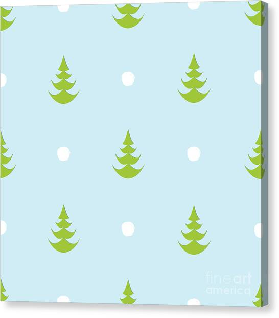 Fir Trees Canvas Print - Herherringbone Snow Creative Abstract by Istorsvetlana