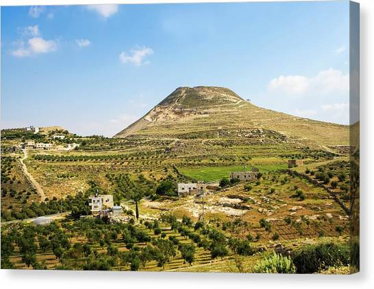 Palestinian Canvas Print - Herodion Man-made Hill by Photostock-israel