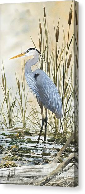 Heron And Cattails Canvas Print