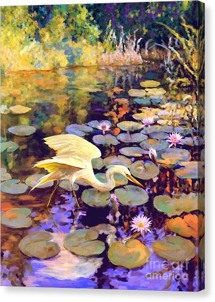 Heron In Lily Pond Canvas Print