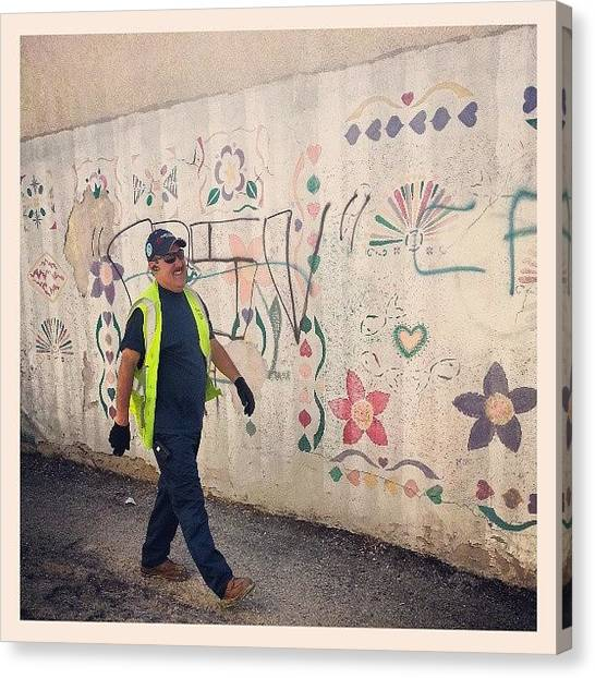 Graffiti Walls Canvas Print - He's Laughing Because I Said  by Karina Colon