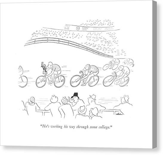 Bicycle Canvas Print - He's Working His Way Through Some College by  Alain