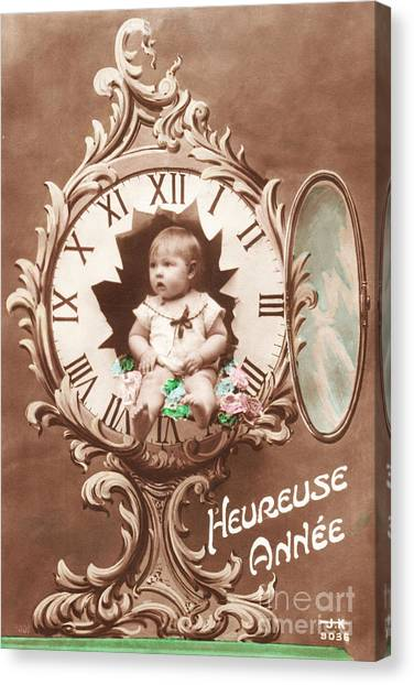 Restoration Canvas Print - Heureuse Annee Vintage Baby by Delphimages Photo Creations
