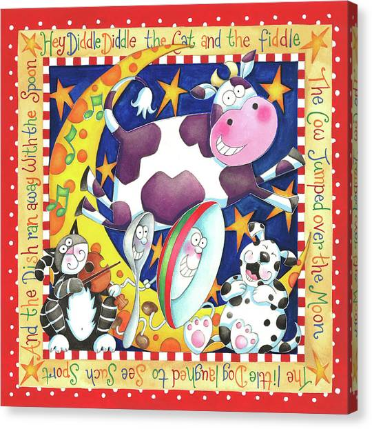Nursery Rhyme Canvas Print - Hey Diddle Diddle by P.s. Art Studios