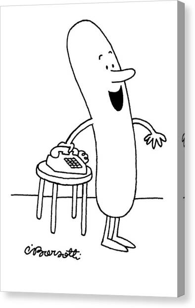 Hot Dogs Canvas Print - Hey, Everybody, We're Invited To A Cookout! by Charles Barsotti