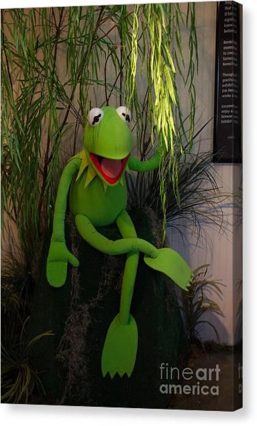 Hi Ho  Kermit The Frog Here  Canvas Print