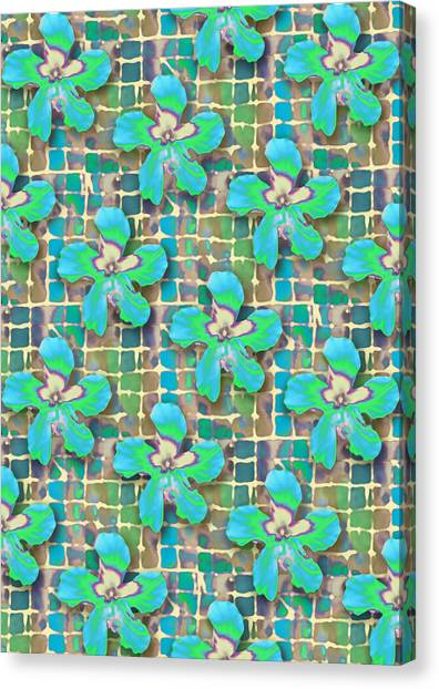 Hibiscus Blue Water Canvas Print