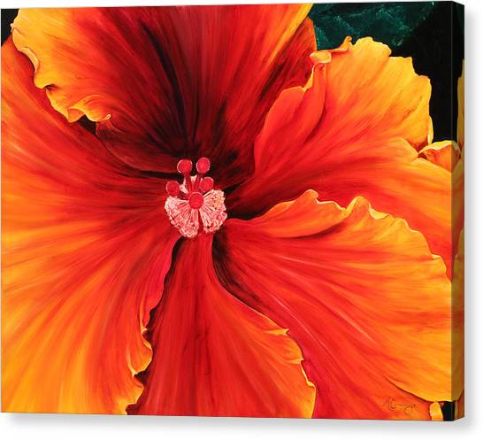Canvas Print featuring the painting Hibiscus by Melinda Cummings