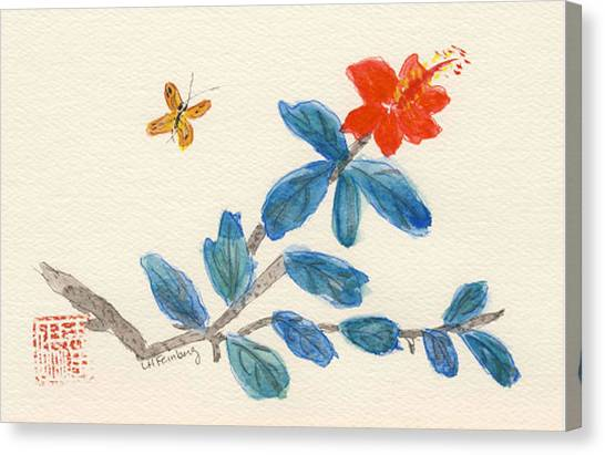 Canvas Print featuring the painting Hibiscus With Butterfly by Linda Feinberg