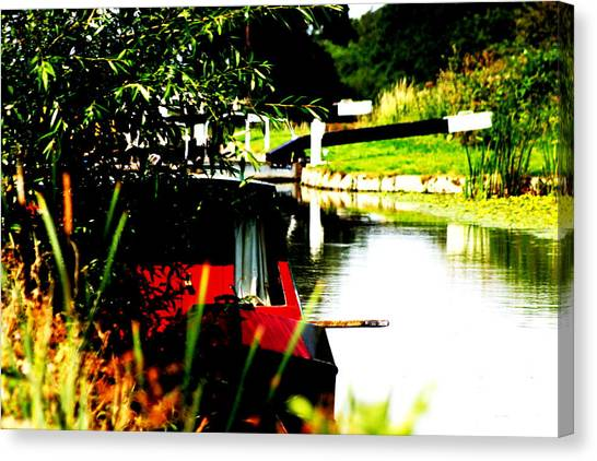 Hidden Barge Canvas Print by David Wood