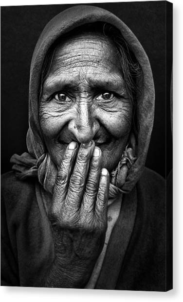 Lady Canvas Print - Hidden Smile by Nidhal Alsalmi