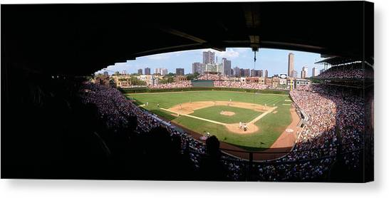Wrigley Field Canvas Print - High Angle View Of A Baseball Stadium by Panoramic Images
