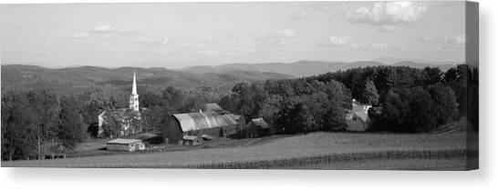 House Of Worship Canvas Print - High Angle View Of Barns In A Field by Panoramic Images