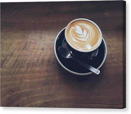 High Angle View Of Cappuccino On Wooden Canvas Print by Eujin Goh / Eyeem