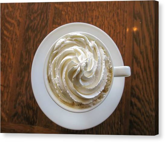 High Angle View Of Coffee With Whipped Canvas Print by Yamaki Yuri / Eyeem