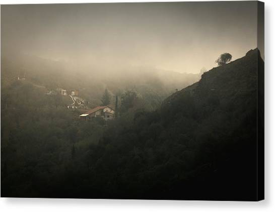 High Angle View Of Cosquin On Foggy Day Canvas Print by Andres Ruffo / EyeEm