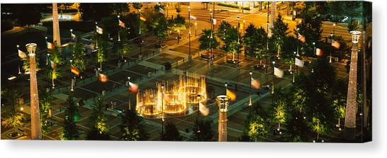 Centennial Canvas Print - High Angle View Of Fountains In A Park by Panoramic Images