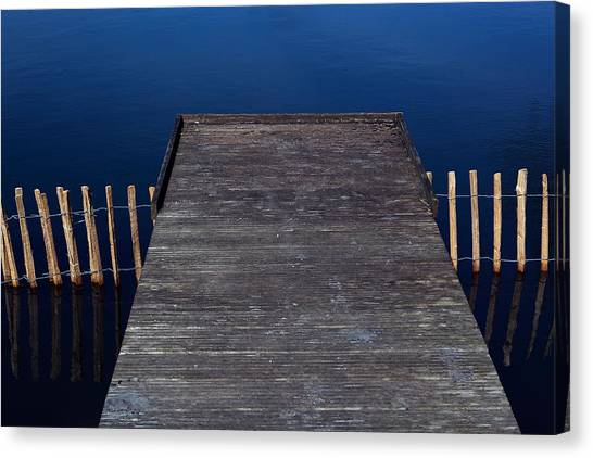 High Angle View Of Jetty Over Lake Canvas Print by Paulien Tabak / EyeEm