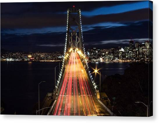 High Angle View Of Light Trails Canvas Print by Lars Krafft / Eyeem