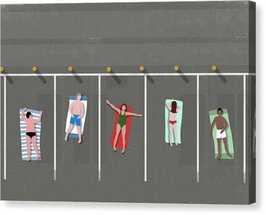 High Angle View Of People Sunbathing In Canvas Print by Malte Mueller