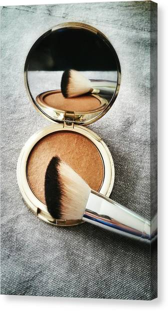 High Angle View Of Powder Compact With Canvas Print by K.m. Zieba / Eyeem