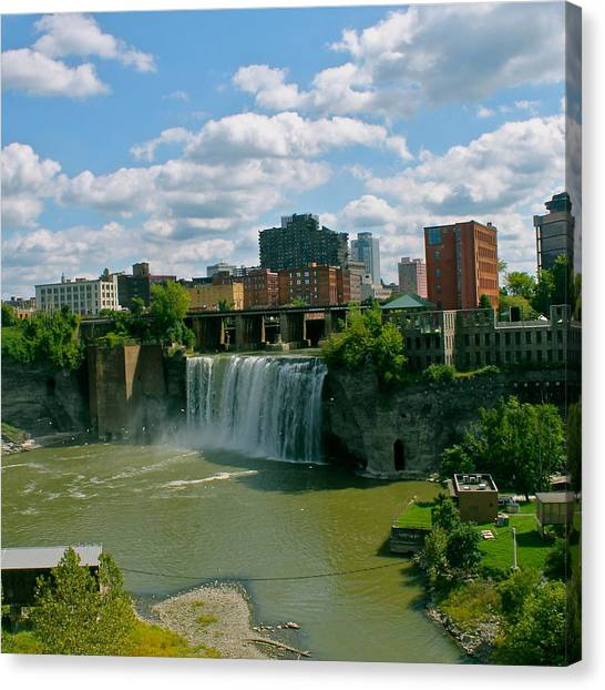 Waterfalls Canvas Print - High Falls Rochester  by Justin Connor