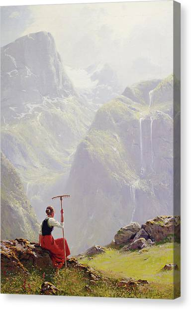 Canvas Print featuring the painting High In The Mountains by Hans Andreas Dahl