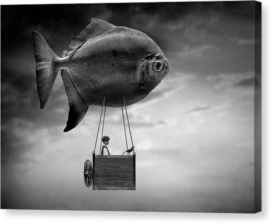 Flying Canvas Print - High In The Sky. by Ben Goossens