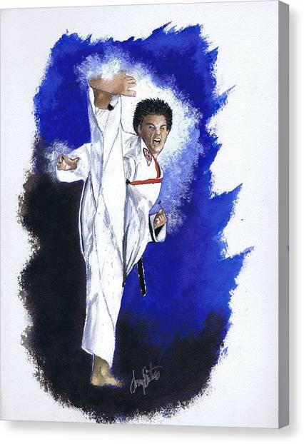 Taekwondo Canvas Print - High-noon Kick by Jerry Bates