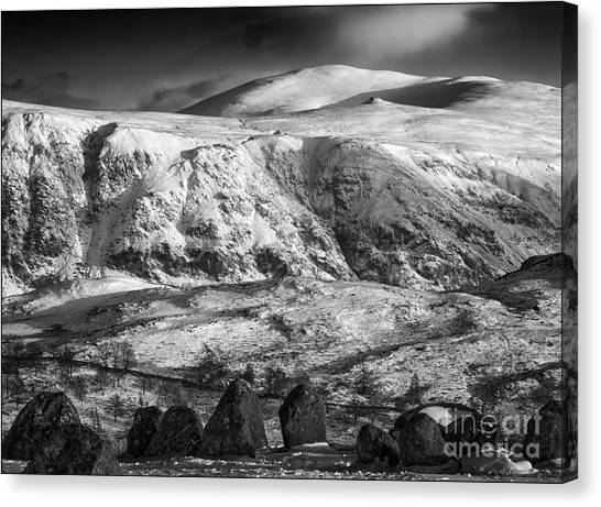 High Rigg From Castlerigg Stone Circle Mono Canvas Print by George Hodlin