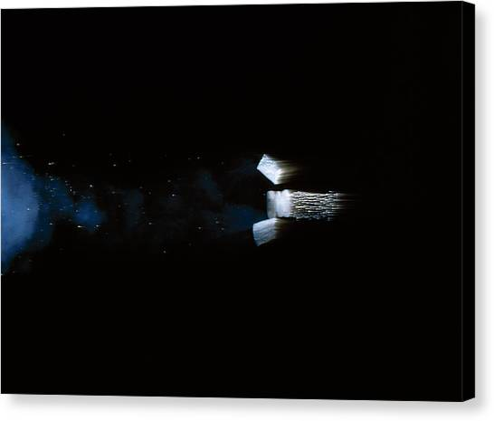 Shotguns Canvas Print - High Speed Photograph Of Bullet Leaving Gun by Stephen Dalton/science Photo Library
