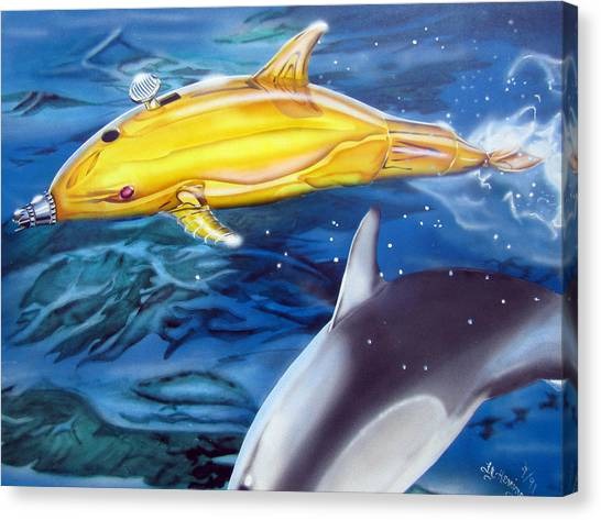 High Tech Dolphins Canvas Print