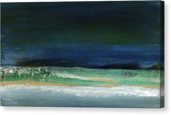 Tides Canvas Print - High Tide- Abstract Beachscape Painting by Linda Woods