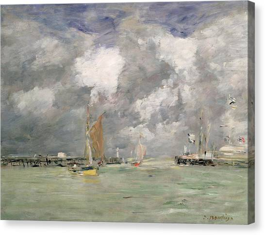Sail Boats Canvas Print - High Tide At Trouville by Eugene Louis Boudin