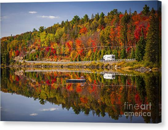Algonquin Park Canvas Print - Highway Through Fall Forest by Elena Elisseeva