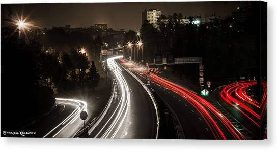 Canvas Print featuring the photograph Highway's Lights by Stwayne Keubrick
