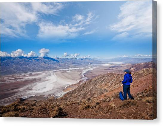 Hiker At Dante's View Canvas Print by JeffGoulden