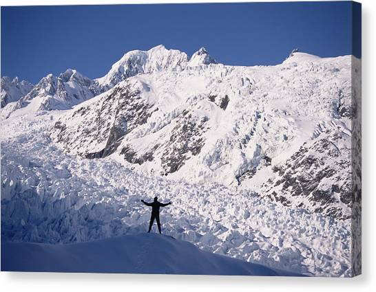 Fox Glacier Canvas Print - Hiker At Upper Fox Glacier Westland Np by Tui De Roy