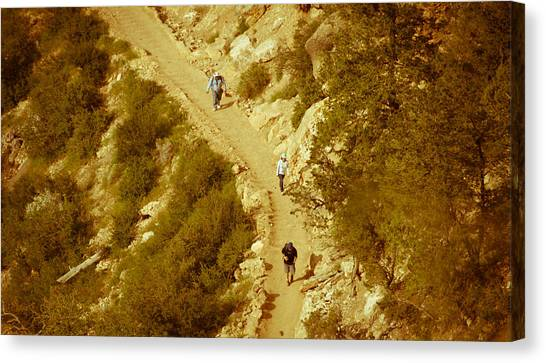 Hikers In Canyon Canvas Print by Nickaleen Neff