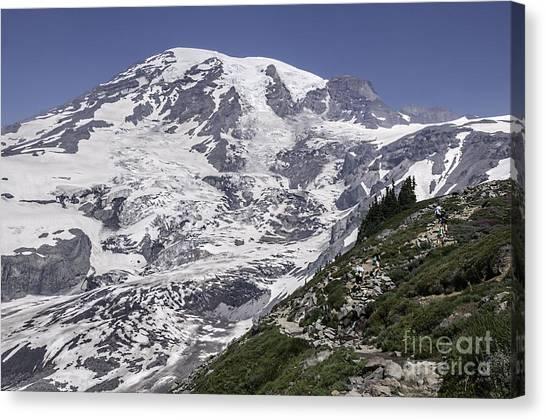 Hiking Mt Rainier Canvas Print