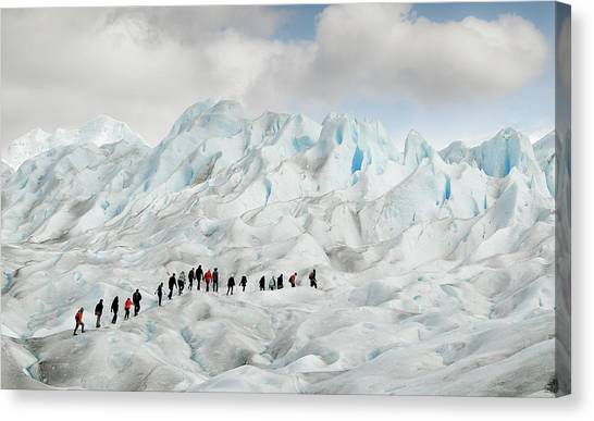 Argentinian Canvas Print - Hiking On Perito Moreno by Roberto Oggiano