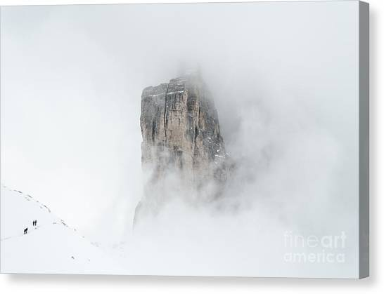 Hiking The Tre Cime In Winter Canvas Print