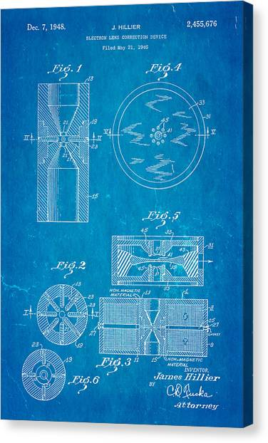 Hillier electron microscope patent art 1948 blueprint photograph by hillier electron microscope patent art 1948 blueprint canvas print by ian monk malvernweather Image collections