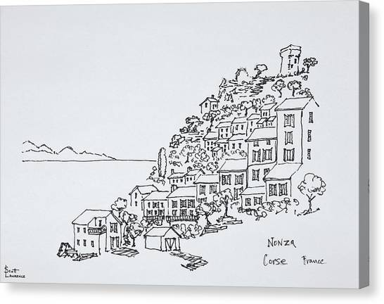 Scotty Canvas Print - Hilltop Village Of Nonza, Corsica by Richard Lawrence