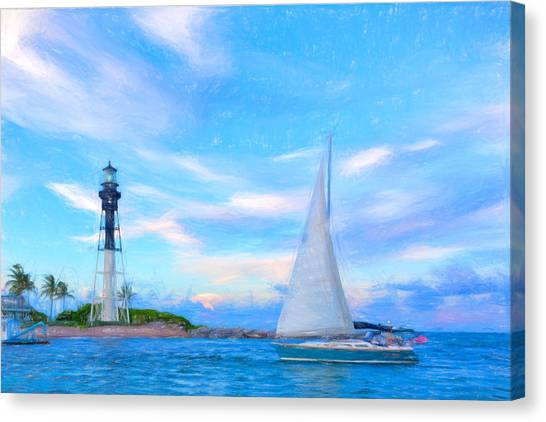 Hilsboro Lighthouse Colored Pencil Canvas Print by Michael  Wolf